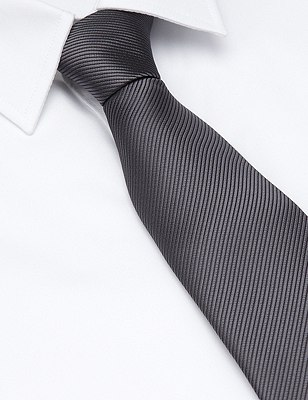 Plain Tie with Stain Resistance, GREY, catlanding