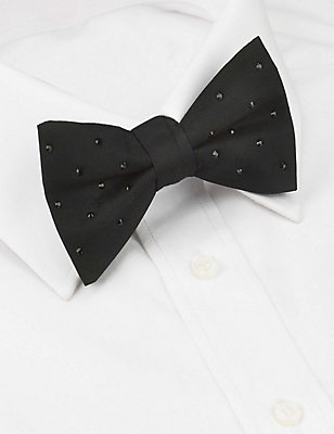 Pure Silk Bow Tie MADE WITH SWAROVSKI® ELEMENTS, BLACK, catlanding