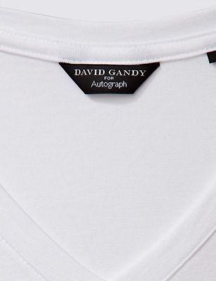 Футболка из чистого хлопка V-образным вырезом белая David Gandy for Autograph T141630A