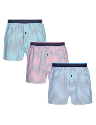 3 Pack Pure Cotton Bright Fine Striped Woven Boxers Clothing