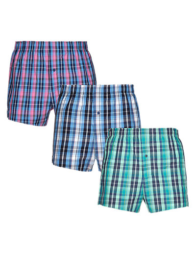 3 Pack Pure Cotton Highlight Checked Woven Boxers Clothing