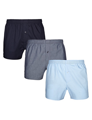 3 Pack Pure Cotton Tonal Easy to Iron Boxers Clothing