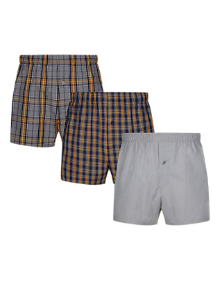 3 Pack Pure Cotton Assorted Woven Boxers Clothing