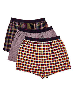 3 Pack Pure Cotton Easy to Iron Checked Boxers