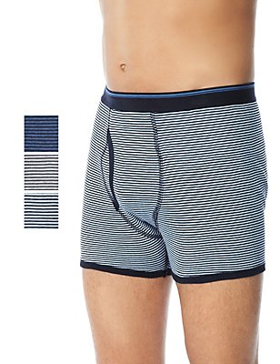 XXXL 3 Pack Pure Cotton Feeder Striped Trunks with StayNEW™, GREY MIX, catlanding