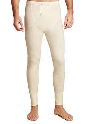 Ribbed Thermal Long Pants with Merino Wool, CREAM, catlanding