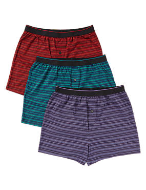 3 Pack Pure Cotton Cool & Fresh™ Ombre Feeder Striped Boxers