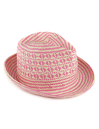 Aztec Print Straw Trilby Hat (Older Girls) Clothing