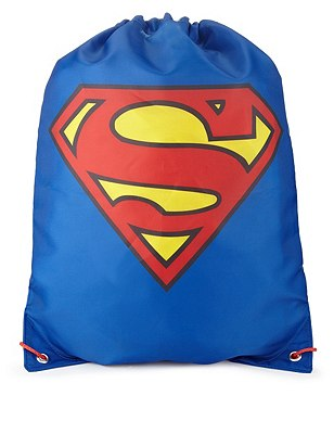 Superman™ Drawstring Rucksack (Older Boys), BLACK, catlanding