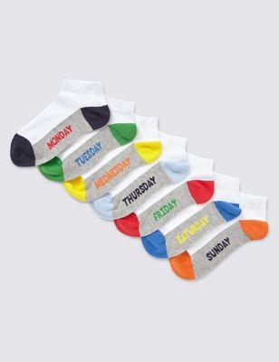 """Хлопковые низкие носки Freshfeet™ с цветным дизайном """"Дни недели"""" для мальчика 5-14 лет (7 пар) от Marks & Spencer"""