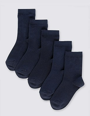 5 Pairs of Freshfeet™ Cotton Rich School Socks (5-14 Years), NAVY, catlanding