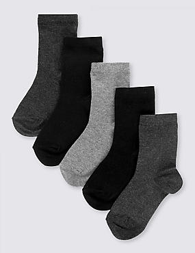 5 Pairs of Freshfeet™ Cotton Rich School Socks (2-14 Years), CLASSIC MIX, catlanding