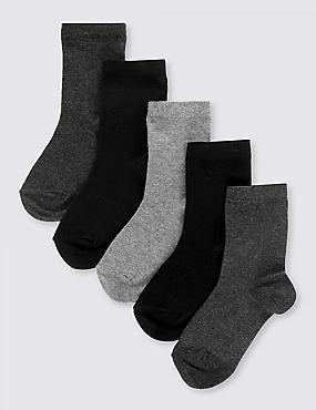 Lot de 5paires de chaussettes en coton Freshfeet™ pour l'école (du 2 au 14ans), CLASSIQUE ASSORTI, catlanding