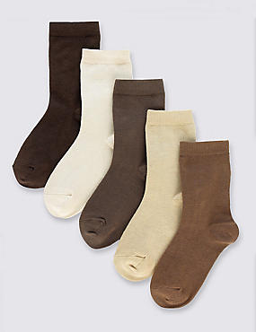 5 Pairs of Freshfeet™ Cotton Rich School Socks (2-14 Years), NEUTRAL, catlanding