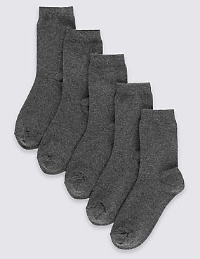 5 Pairs of Freshfeet™ Cotton Rich School Socks (2-14 Years), GREY, catlanding