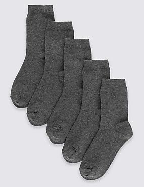 Pack de 5 pares de calcetines escolares Freshfeet™ de algodón (2-14años), GRIS, catlanding