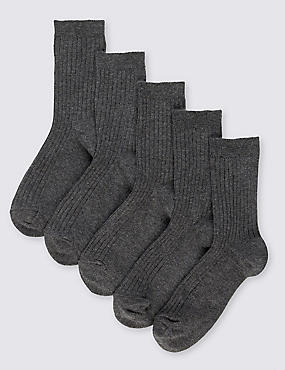 5 Pairs of Freshfeet™ Cotton Rich Ribbed School Socks (5-14 Years), GREY, catlanding