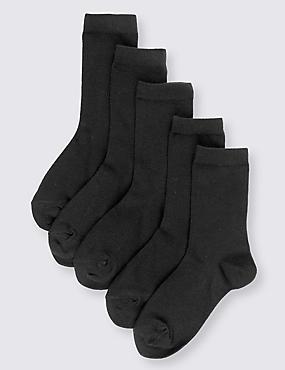 Lot de 5paires de chaussettes en coton Freshfeet™ pour l'école (du 5 au 14ans), NOIR, catlanding