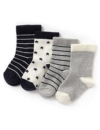 4 Pairs of Cotton Rich Assorted Baby Socks Clothing