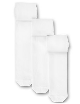 3 Pairs of Freshfeet™ Cotton Rich Body Sensor™ School Tights (3-14 Years), WHITE, catlanding