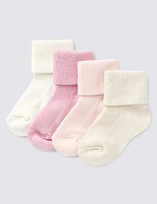 4 Pairs of Cotton Rich Assorted Baby Socks (0-24 Months), PALE PINK MIX, catlanding