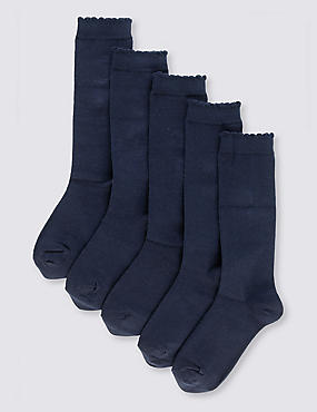 5 Pairs of Freshfeet™ Cotton Rich Trim Knee High Socks (2-11 Years), NAVY, catlanding