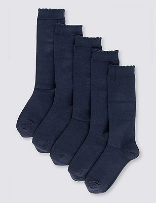 5 Pairs of Freshfeet™ Cotton Rich Trim Knee High Sockswith Silver Technology, NAVY, catlanding