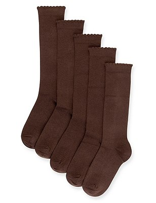 5 Pairs of Freshfeet™ Cotton Rich Trim Knee High Sockswith Silver Technology, BROWN, catlanding