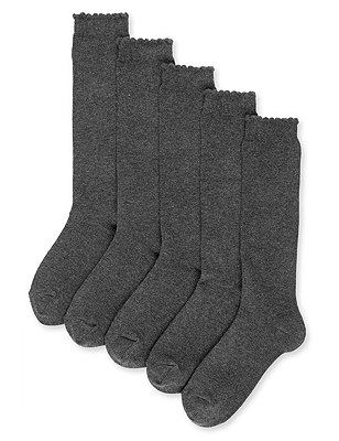 5 Pairs of Freshfeet™ Cotton Rich Trim Knee High Sockswith Silver Technology, GREY, catlanding