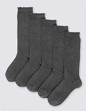 5 Pairs of Freshfeet™ Cotton Rich Trim Knee High Socks (2-11 Years), GREY, catlanding