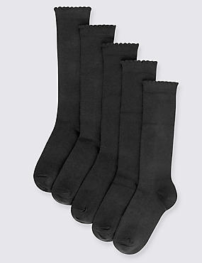 5 Pairs of Freshfeet™ Cotton Rich Trim Knee High Socks (2-11 Years), BLACK, catlanding