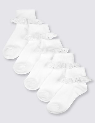5 Pairs of Freshfeet™ Cotton Rich Socks (2-11 Years), WHITE, catlanding