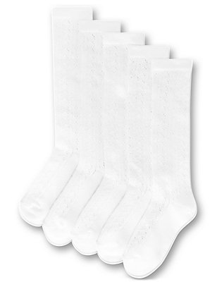 5 Pairs of Freshfeet™ Knee High  Pelerine Socks (3-11 Years), WHITE, catlanding