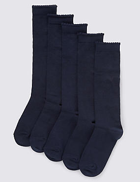 5 Pairs of Freshfeet™ Heart Print Knee High School Socks (3-14 Years), NAVY, catlanding