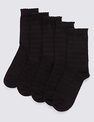 5 Pairs of Freshfeet™ Cotton Rich Metallic Effect Striped Socks with Silver Technology  Clothing