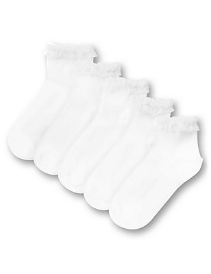 5 Pairs of Freshfeet™ Cotton Rich Ankle High Frilled Socks (3-11 Years), WHITE, catlanding