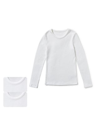 2 Pack Long Sleeve Thermal Vests (18 Months - 16 Years), WHITE, catlanding