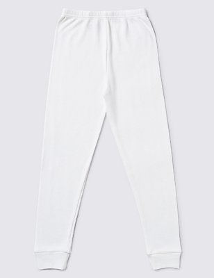 Ribbed Thermal Long Pants (18 Months - 16 Years), WHITE, catlanding