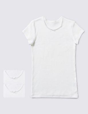 2 Pack Short Sleeve Thermal Vests (18 Months - 14 Years), WHITE, catlanding