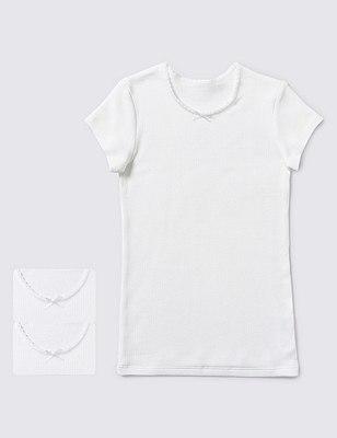 2 Pack Short Sleeve Vests (1-14 Years), WHITE, catlanding