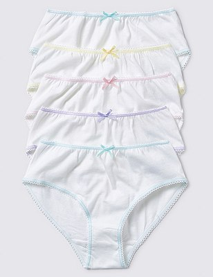 5 Pack Pure Cotton Briefs (1-12 Years), WHITE, catlanding