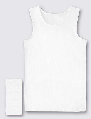5 Pack Pure Cotton Sleeveless Vests (1-16 Years), WHITE, catlanding