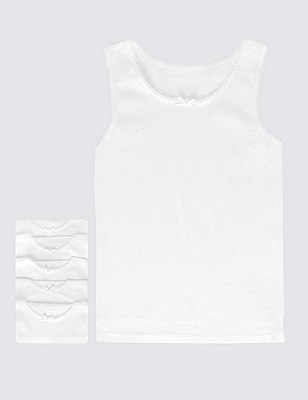 5 Pack Pure Cotton Scallop Trim Bow Vests (1-16 Years), WHITE, catlanding