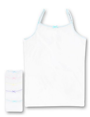 Pure Cotton Scallop Trim Camisole Vests (18 Months - 16 Years), WHITE, catlanding