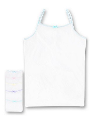 5 Pack Pure Cotton Scallop Trim Cami Vests (1-16 Years), WHITE, catlanding