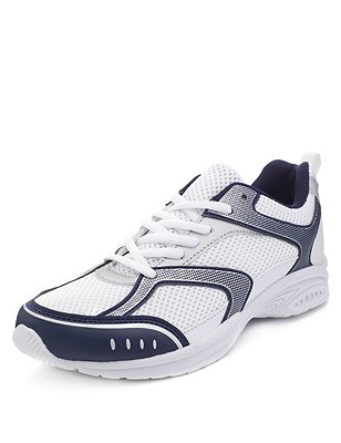 Freshfeet™ Scuff Resistant Lace Up Trainers with Silver Technology (Older Boys), WHITE MIX, catlanding