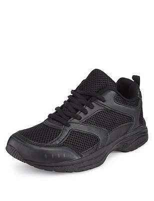 Freshfeet™ Lace Up Trainers with Silver Technology (Older Boys), BLACK, catlanding