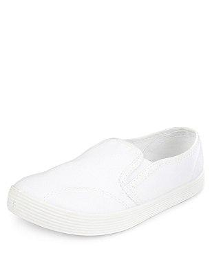 Slip-On Plimsolls, WHITE, catlanding