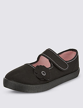 Kids' Plimsolls with New & Improved Fit, BLACK, catlanding