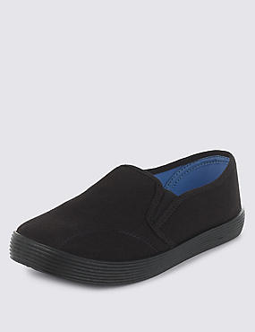 Kids' Elasticated Panel Plimsolls with New & Improved Fit, BLACK, catlanding